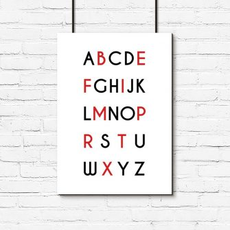 Minimalistyczny plakat z alfabetem do pokoju dziecka