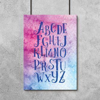 plakat z alfabetem do pokoju dziecięcego