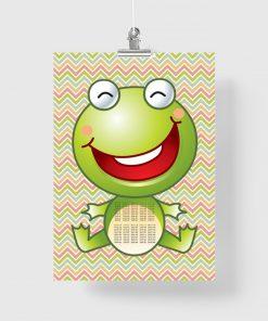 plakat z żabką i tabliczką mnożenia