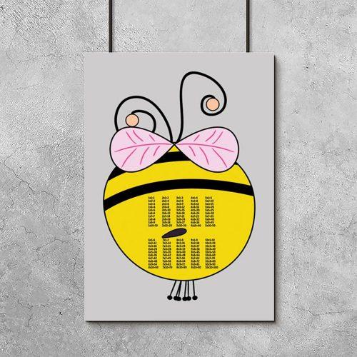 plakat z pszczółka i tabliczką mnożenia