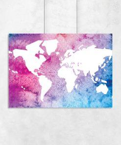 plakat z kolorową mapą do pokoju dziecka