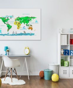 Dekoracja do pokoju dziecka z mapą