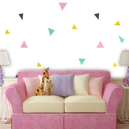 Tapeta z trójkątami do pokoju chłopca oraz dziewczynki