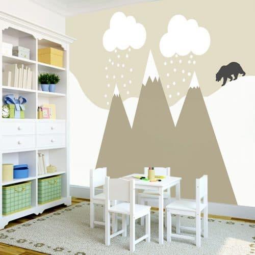 Tapeta z niedźwiadkiem i górami