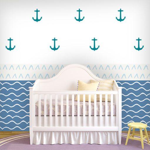 Tapeta z morskimi falami i kotwicami do pokoju chłopca