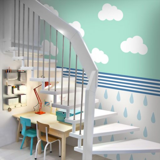 Tapeta z kropelkami deszczu i chmurami