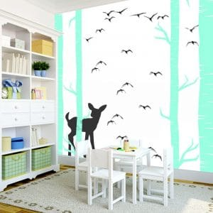 Fototapeta z bajkowym lasem w turkusie do pokoju dziecka