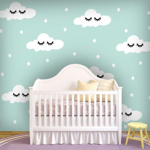Tapeta z oczkami i chmurkami do pokoiku dziecka