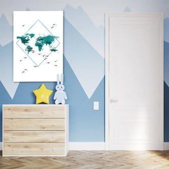 Obraz do dekoracji pokoju dziecięcego z mapą