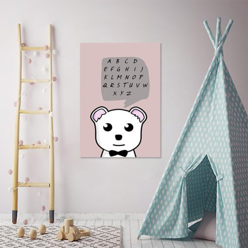 obrazek do pokoju dziecka z alfabetem i misiem