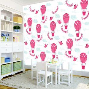 tapeta z balonami i chmurkami do pokoju dziecka