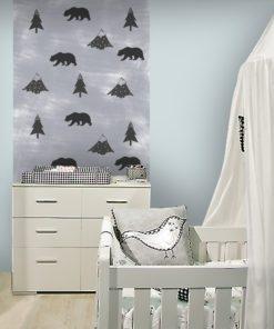 tapeta z motywem lasu i gór do pokoju chłopca lub dziewczynki
