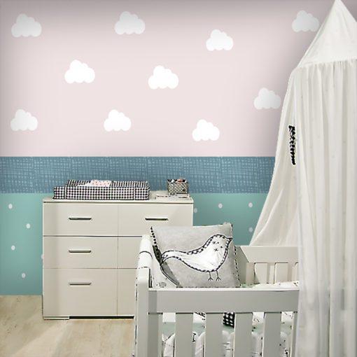 Chmurki i groszki jaki motyw dekoracji ściennej dla dzieci