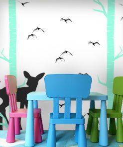 Turkusowy las z sarenką w formie dekoracji ściennej do pokoju dziecka