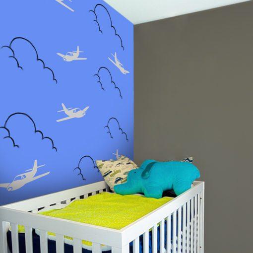 Fototapeta do pokoju chłopca z motywem samolotów