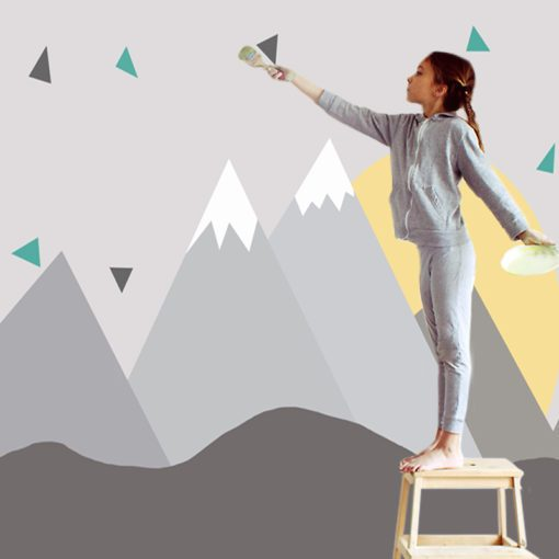 Urocza tapeta z górami dla chłopca i dziewczynki