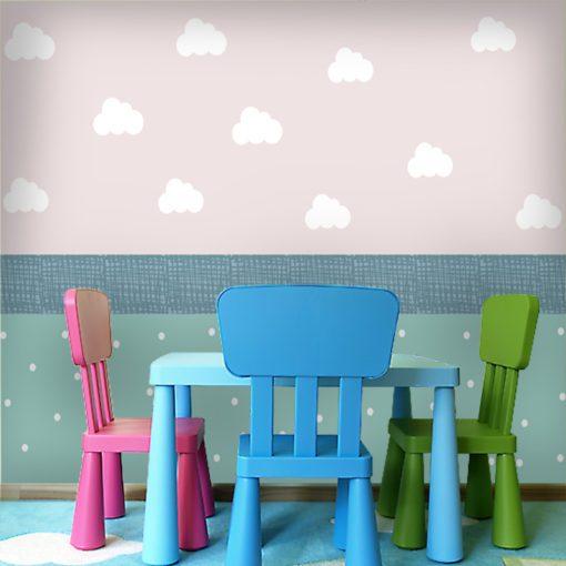 Piękna dekoracja w chmurki do pokoju chłopca i dziewczynki