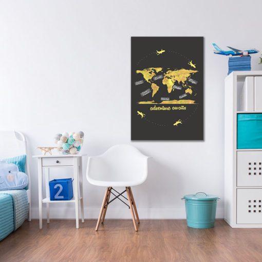 Obraz z napisem i mapą świata