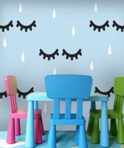 Fototapeta z kropelkami na błękitnym tle do pokoju dziecka