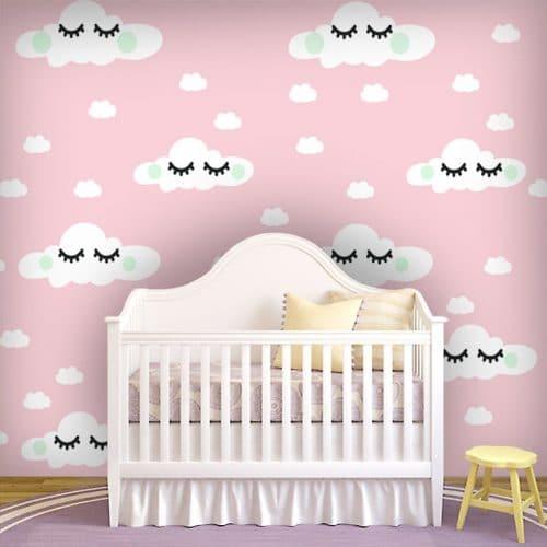 Fototapeta - chmurki na różowym tle do pokoiku dziewczynki
