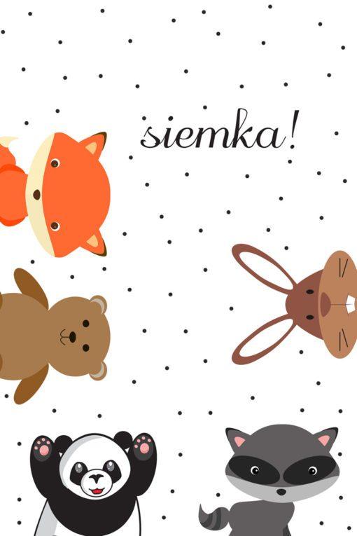 Uroczy obrazek ze zwierzaczkami i zabawnym słowem