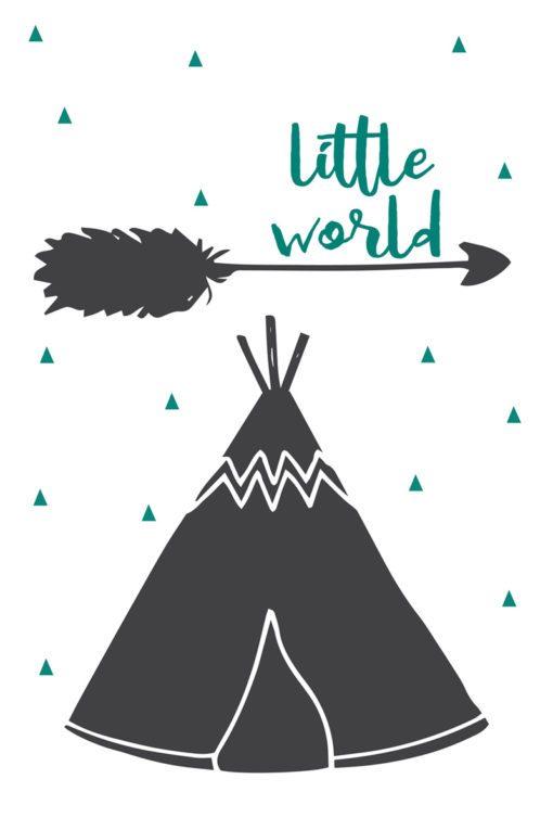 Obraz z motywem namiotu i napisem little world dla chłopca lub dziewczynki