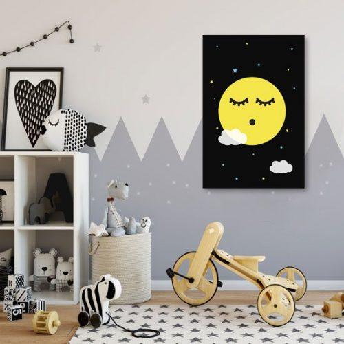 Obraz ze śpiącym księżycem i gwiazdkami do pokoju dziecka