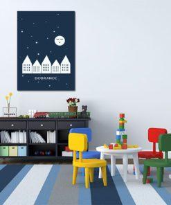 Śpiące miasteczko - urzekający obrazek do pokoju dziecka