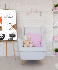 Obraz ze zwierzaczkami i napisem siemka do pokoiku dziecka