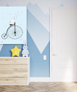 Uroczy motyw na obrazku do upiększenia pokoiku dziecka - Słonik na rowerze