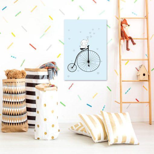 Świetny obrazek do pokoiku dziecka - Słonik na rowerku