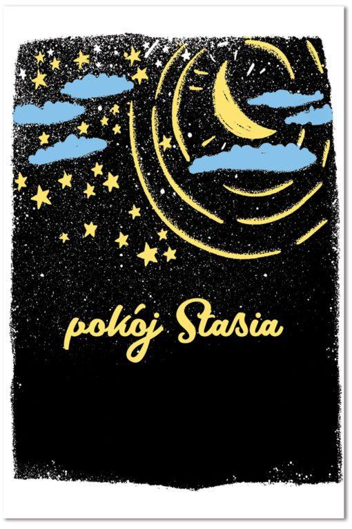 Uroczy obrazek z motywem gwiazdek, księżyca oraz imienia dziecka