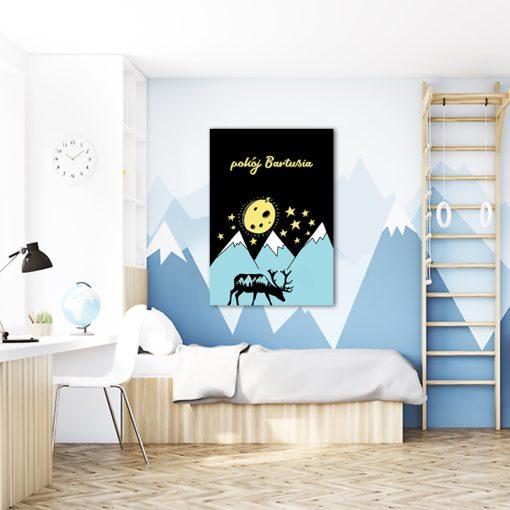 Urocza dekoracja ścienna w postaci obrazu nad łóżeczko z imieniem dziecka