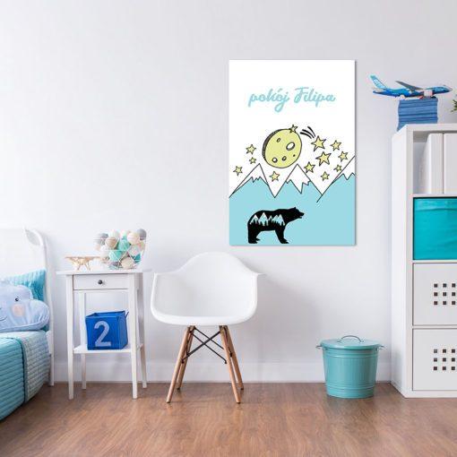 Modny obrazek do powieszenia w pokoju dziecka - góry i niedźwiadek