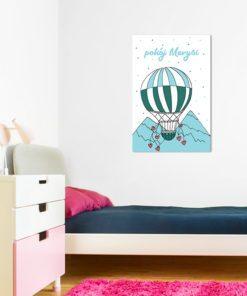 Obraz z balonikiem i górami oraz miejscem na imię pociechy