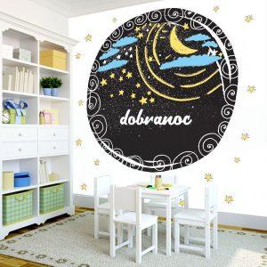 """Dekoracja ścienna przeznaczona do pokoju dziecka - gwizdki, księżyc i napis """"dobranoc"""""""
