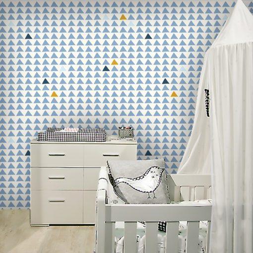 Modna tapeta z wzorem w trójkąty do pokoju dziecka