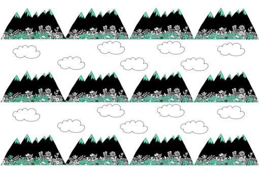 Modna fototapeta z górami i elementami turkusu
