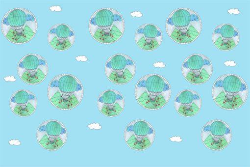 Urokliwa dekoracja ścienna - Fototapeta w baloniki i chmurki