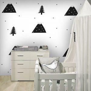 Ciekawa dekoracja ścienna z nowoczesnym motywem - Góry i drzewka
