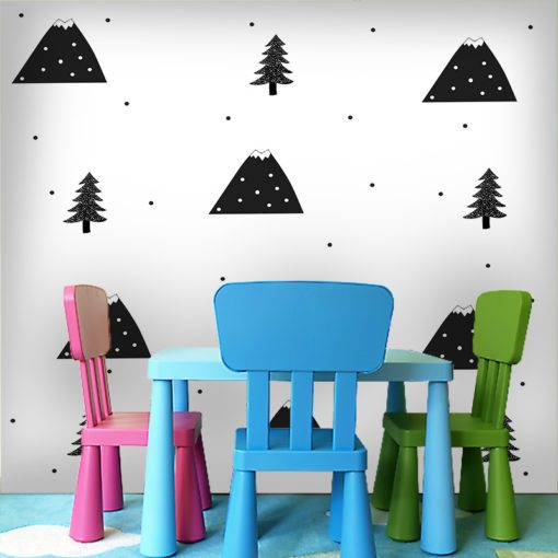 Góry i drzewka - fototapeta na ścianę do pokoju dziecięcego