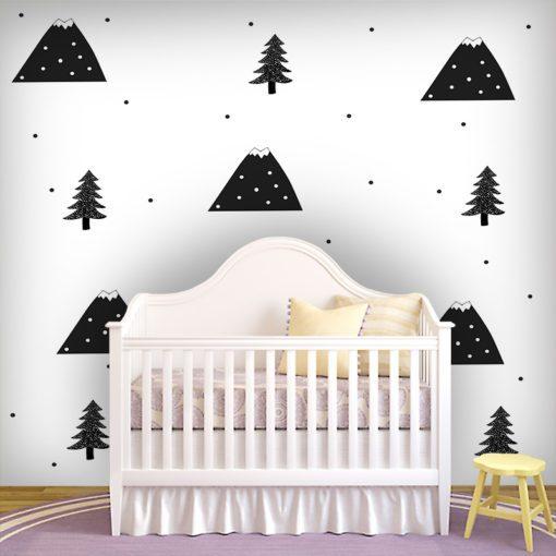 Modny wzór w postaci gór na fototapecie do pokoju dziecięcegi
