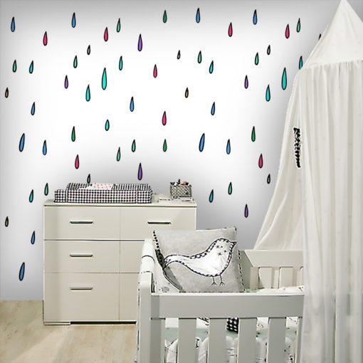 Dekoracja ścienna w postaci tapety na ścianę z motywem kropelek deszczu