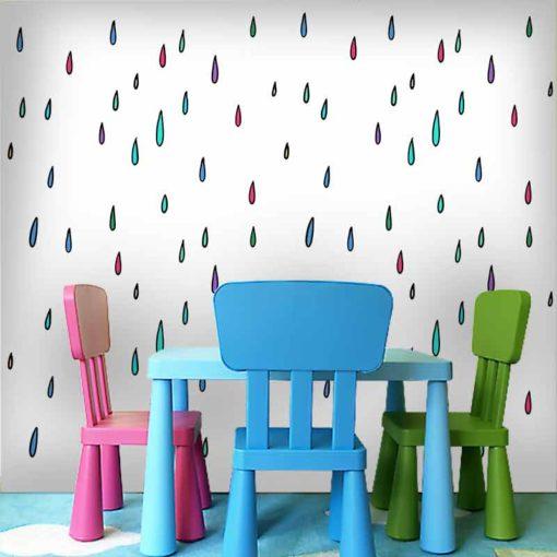 Oryginalna dekoracja do pokoju dziecięcego - kolorowe krople deszczu