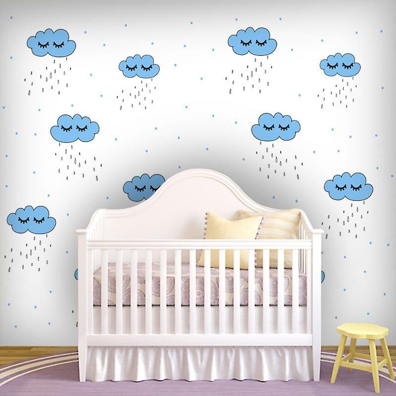 Fototapeta z motywem chmurek z oczkami oraz kropelek deszczu