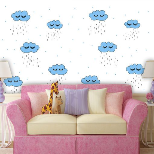 Ciekawa ozdoba pokoi dziecięcych - chmurki i kropelki deszczu