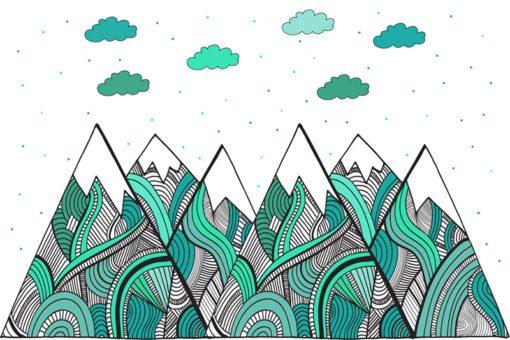 Urocza ozdoba na ścianę w pokoju dziecięcym - Turkusowe wzorki na górach
