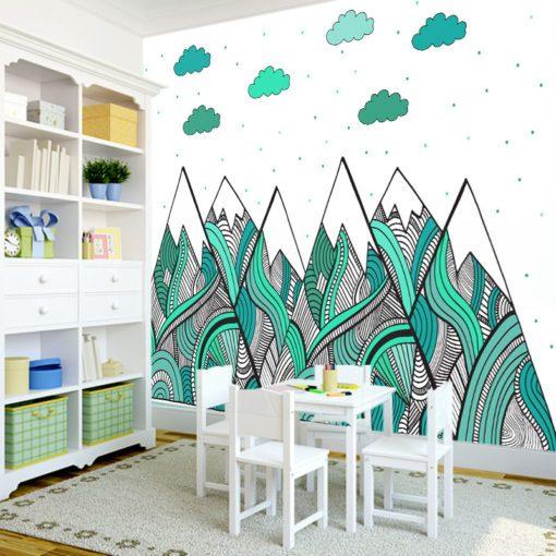 Fototapeta z turkusowymi górami i chmurkami do pokoju dziecka