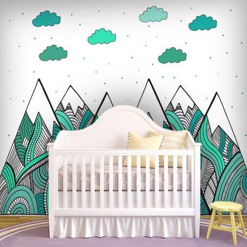 Śliczna ozdoba do dekorowania ścian w pokoju dziecka - Góry w turkusie