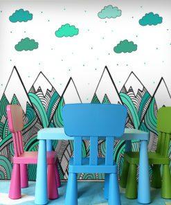 Turkusowe wzorki na górach oraz chmurki jako motyw fototapety do pokoju dziecka